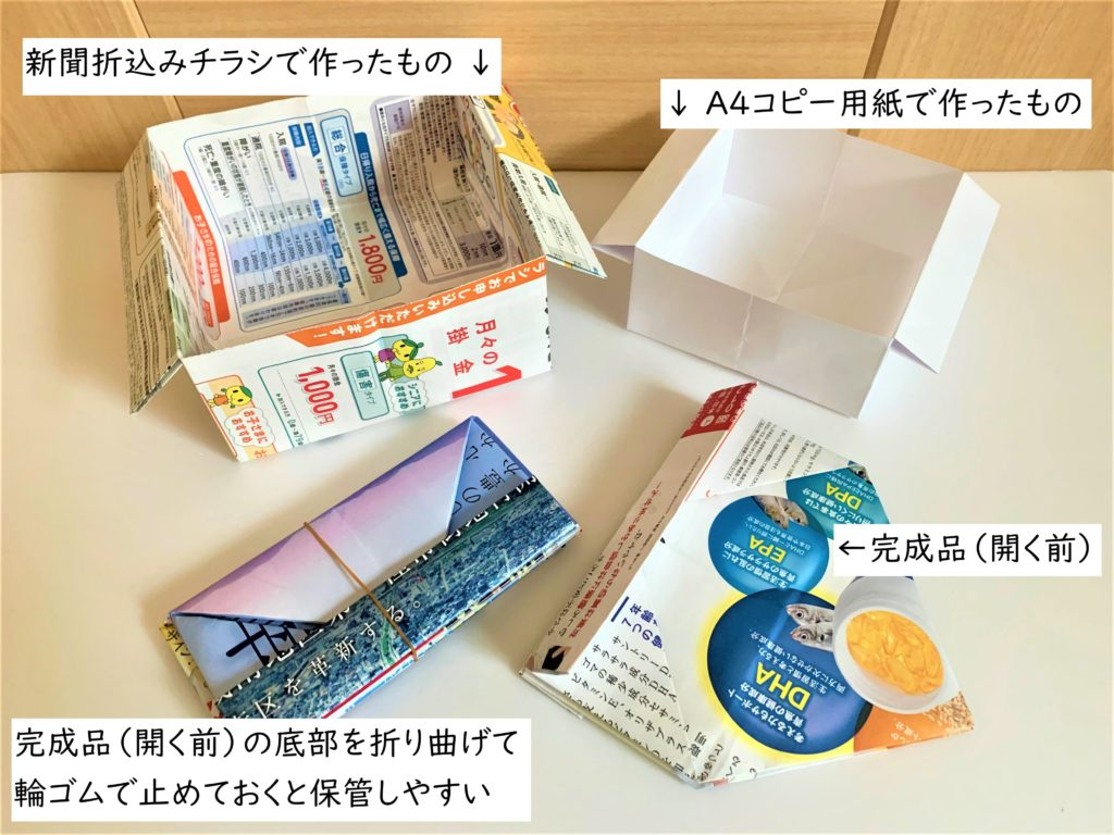 大人の塗り絵おすすめ道具4種!初心者も使いやすい色鉛筆や水彩ペン 新聞の折込チラシで作った卓上ごみ入れ