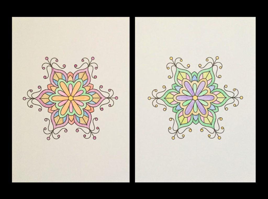 高齢者の塗り絵は脳トレに最適!塗り絵の種類から効果や道具をご紹介 り絵「花のモチーフ」04