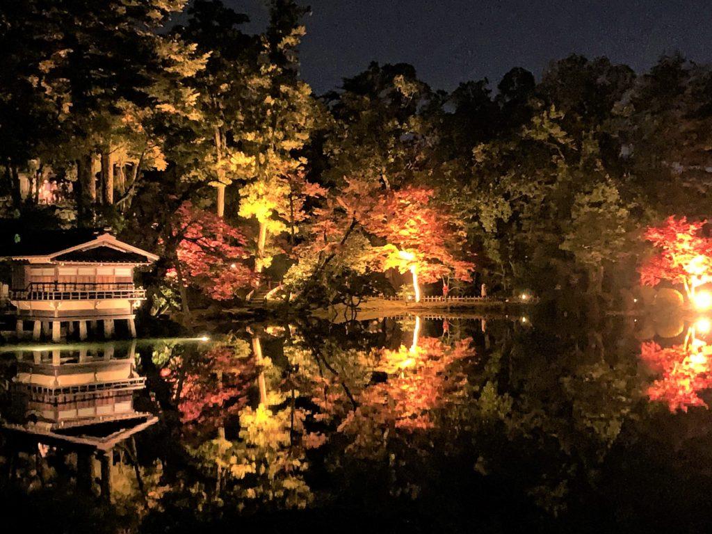 【紅葉】石川・金沢兼六園の見頃・混雑時間・駐車場やライトアップ2019について 2019霞ヶ池ライトアップ02