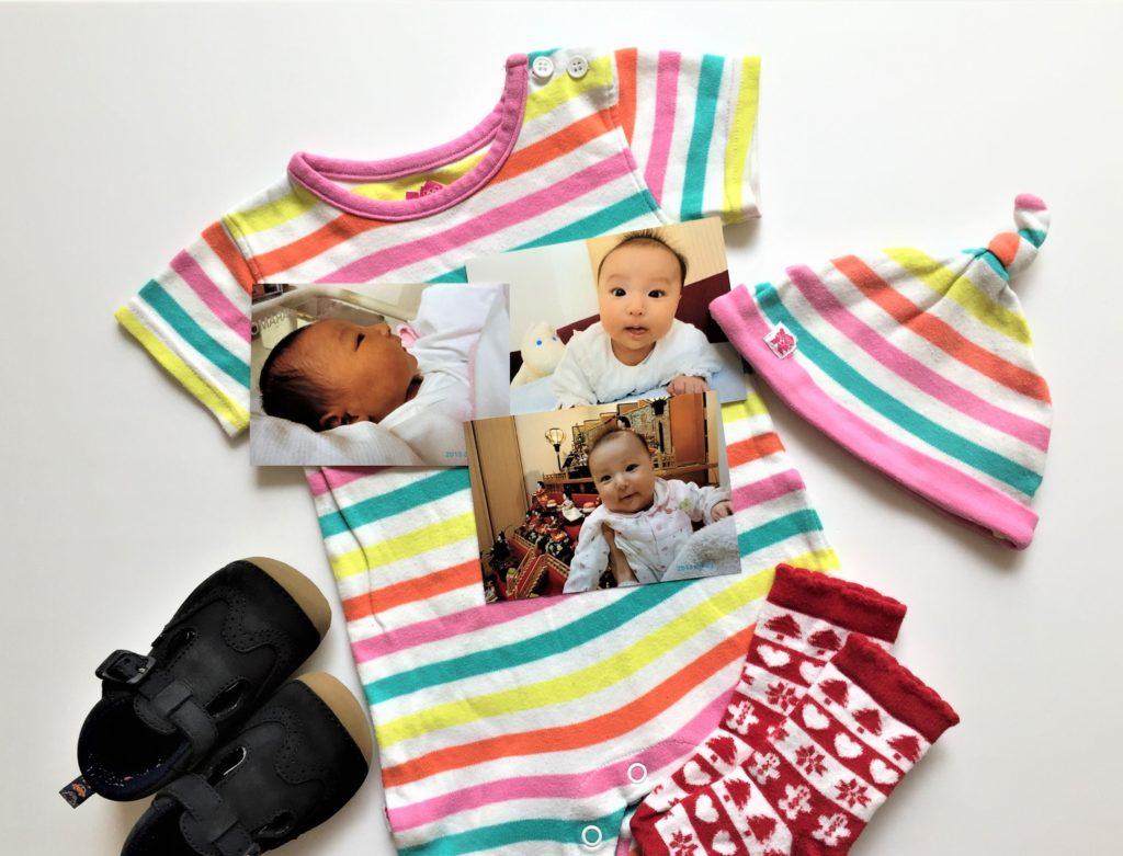 女の子の出産祝いプレゼント11選!実用的や育児に役立つ贈り物 ベビー服、帽子、靴・靴下のサイズの目安表01
