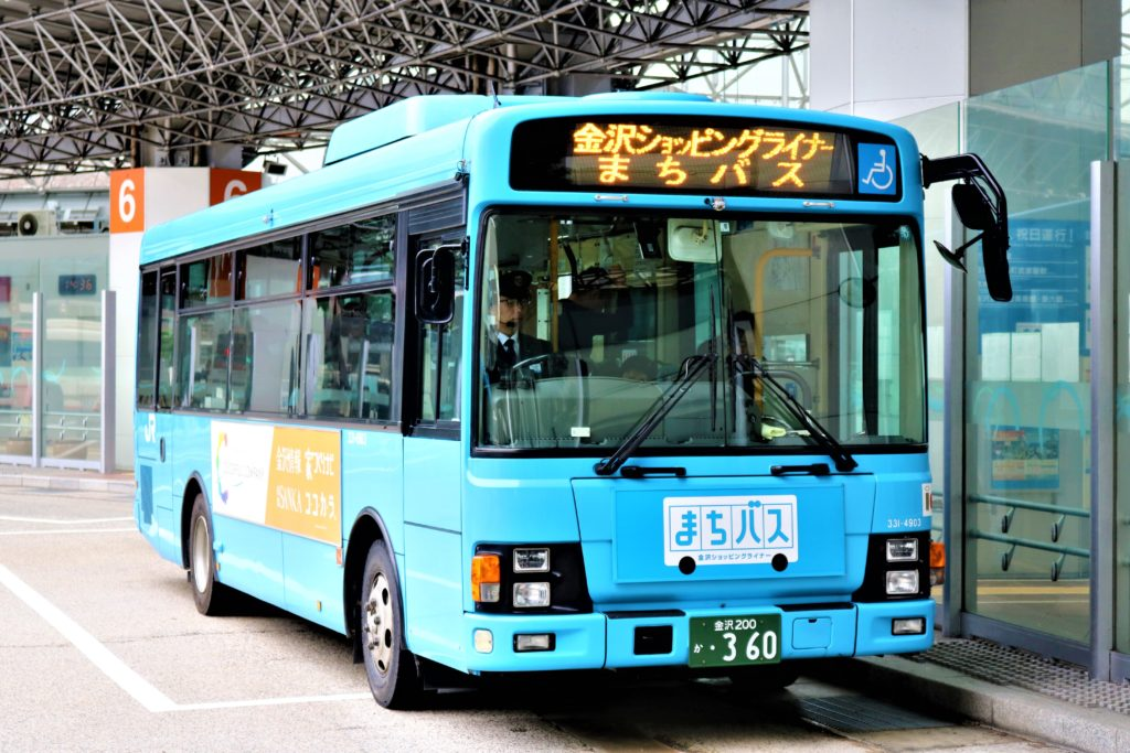 兼六園・金沢城公園など金沢観光には【バス】【自転車】がおすすめ! JRバス まちバス01